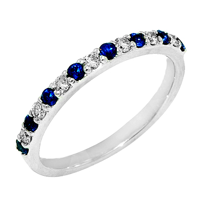 View 14K White  Gold<BR> Sapphire and Diamond Ring