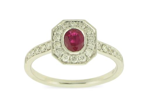 View 18K White  or 18k Yellow  Gold<BR> Ruby and Diamond Ring