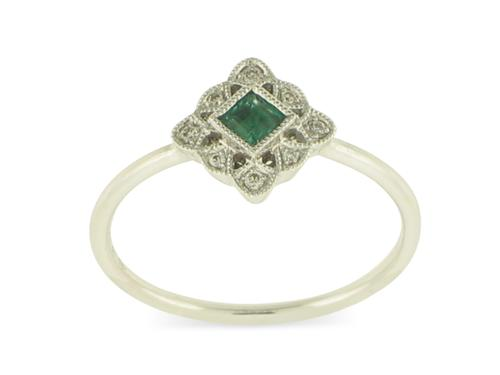 View 18K White  or 18k Yellow  Gold<BR> Emerald and Diamond Ring