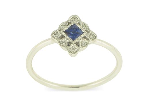 View 18K White  Gold<BR> Sapphire and Diamond Ring
