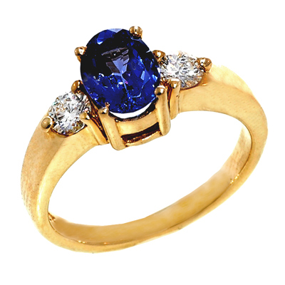 View 14K White  or  Yellow  Gold<BR> Tanzanite and Diamond Ring