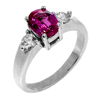 View 14K White  or  Yellow  Gold<BR> Pink Sapphire and Diamond Ring
