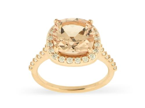 View 14K Rose  Gold<BR> Morganite and Diamond Ring