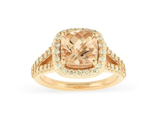 View 18K Rose  Gold<BR> Morganite and Diamond Ring