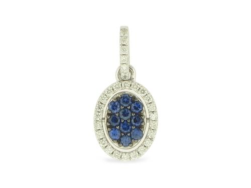 View 14K White  Gold<BR> Sapphire and Diamond Pendant