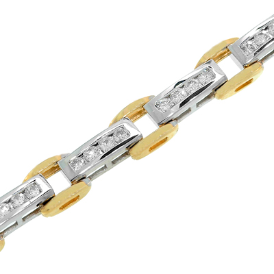 View 14K Two-tone<BR> Diamond Bracelet