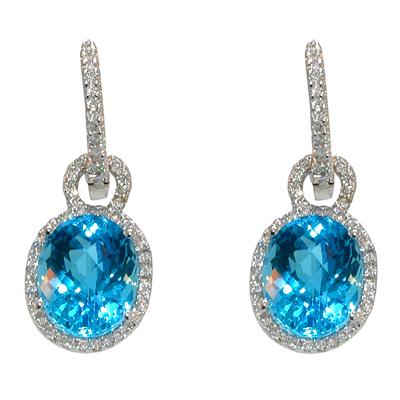 View 14K White  Gold<BR> Blue Topaz and Diamond Earrings