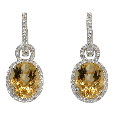 View 14K White  Gold<BR> Citrine and Diamond Earrings