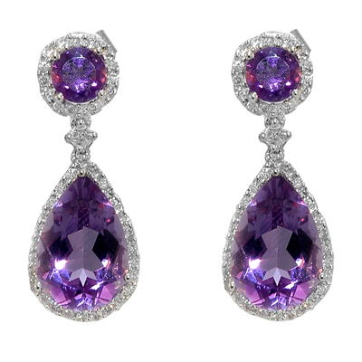 View 14K White  Gold<BR> Amethyst and Diamond Earrings