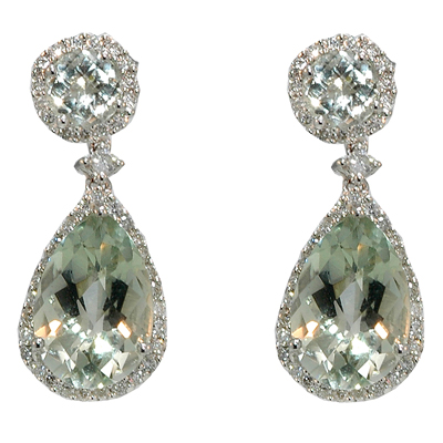 View 14K White  Gold<BR> Green Amethyst and Diamond Earrings