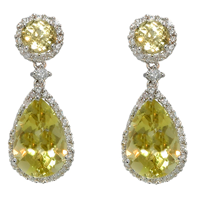 View 14K White  Gold<BR> Lemon Quartz and Diamond Earrings