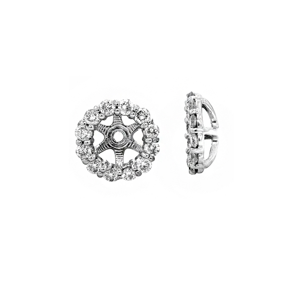 View 14k White Gold Diamond Earring Jackets