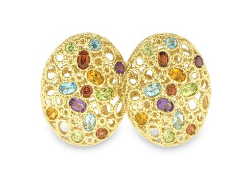 View 18K Yellow  Gold<BR> Semi-precious Gemstone Earrings