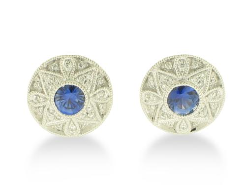 View 14K White  Gold<BR> Sapphire and Diamond Earrings