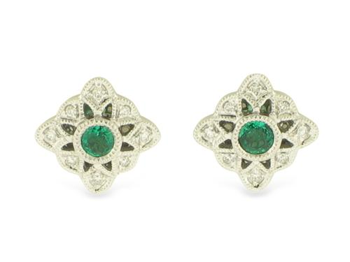 View 14K White  or  Yellow  Gold<BR> Emerald and Diamond Earrings