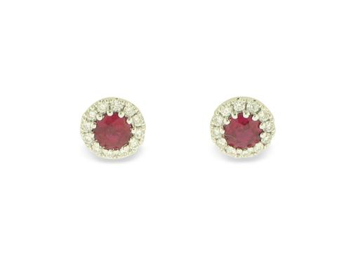 View 14K White  or  Yellow  Gold<BR> Ruby and Diamond Earrings